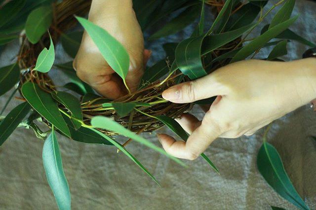 6.11(Tue.)「紫陽花のリース」..撮影のために生徒さんの手元を見つめる機会が多いのですが。爪先が美しく彩られた、あるいは働き者の、あるいは少女のように柔らかな手が、植物をかき分けたり揺らしたり、摘み取ったりする様子は本当に美しく、ファインダー越しにいつも惚れ惚れとしております。そのうち生徒さんの手だけ見てどなたか判断できるようになるのではないかなと思います。最近初めましての生徒さんが増えてきて嬉しいです。こちらの生徒さんは前々からリースなどをご自分で積極的に作ってらっしゃったそうで、さすがの手際、勘の良さでした。紫陽花をお目当てに来られましたが、たわわなブルーベリーを気に入られて急遽グリーンメインのリースになりました。完成品は後ほど。..#cerise #barrosarosa #警固 #wreath  #紫陽花  #flowerlesson #natural #antique